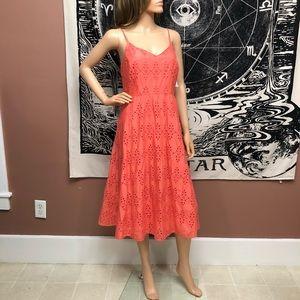 NWT Old Navy 100% Cotton Eyelet Coral Midi Dress M